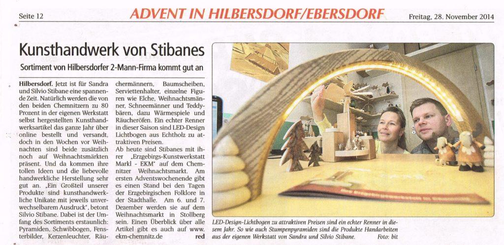 Presse Wochenendspiegel - Kunsthandwerk von Stibane / EKM