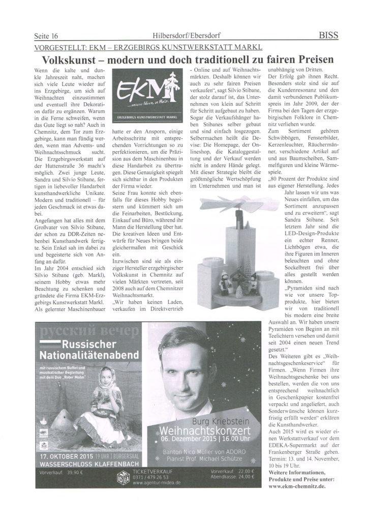 EKM Erzgebirgische Volkskunst - Modern und Tradition - BISS Stadtteilmagazin Hilbersdorf / Ebersdorf