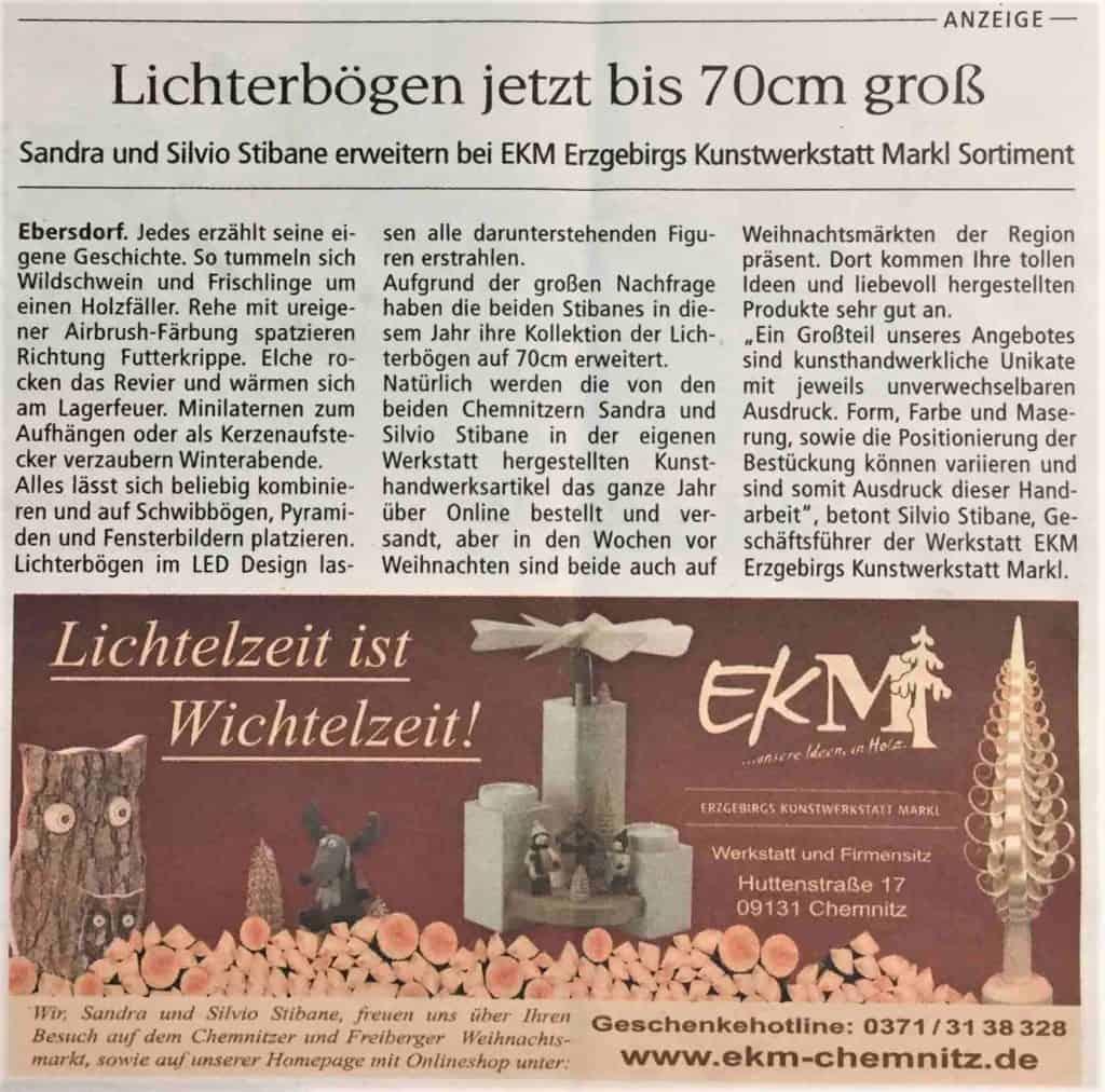 EKM - Neuer Lichterbogen - Presse Wochenendspiegel