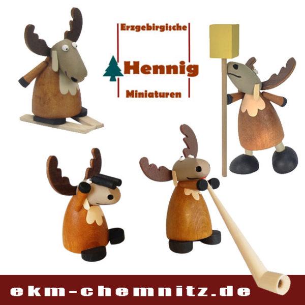 Der Elch aus dem Erzgebirge, hergestellt von der Traditions Firma H. Hennig. Eine witzige Sammelfigur gedrechselt mit den unterschiedlichsten Facetten. Man muss sie alle haben.