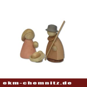 Die Heilige Familie, Krippenfiguren der Firma Hennig. Klein lasiert, eine moderne Handwerkskunst zum Sammeln.