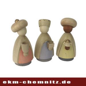 Aus der Gruppe der Krippenfiguren groß gedrechstelt und lasiert die Heiligen drei Könige ideal als Sammelfiguren.