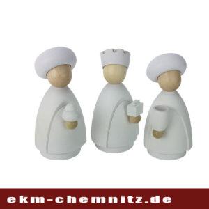 Von Hand gearbeitete Drechselfiguren. Die Heiligen drei Könige in groß natur/weiß für Ihr Krippenspiel zu Hause.