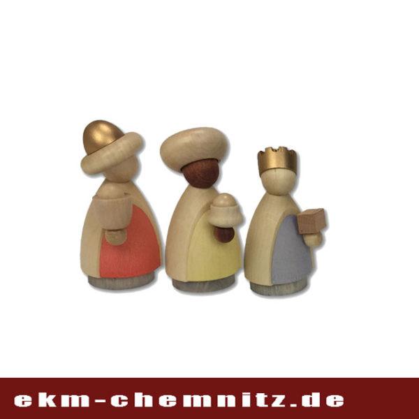 Ergänzend für ihre Krippenfiguren, die Heiligen drei Könige klein lasiert, handgearbeitete Drechselfiguren aus dem Hause Hennig in Deutschneudorf.