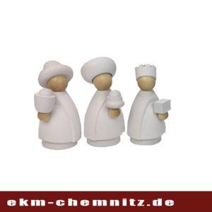 Die Heiligen drei Könige dürfen bei dem Krippenspiel nicht fehlen. Als moderne Drechselfiguren in klein natur/weiß sind sie tolle Sammelfiguren.