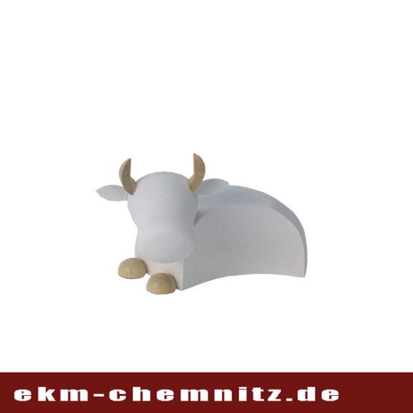 Zum Krippenspiel gehört der Ochse. Die Drechselfigur in groß natur/weiß mit schlichtem edlem Design.
