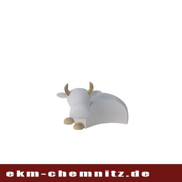 Klein und natur/weiß ist der Ochse als moderne Drechselfigur eine wundervolle Ergänzung zu ihren Krippenfiguren.