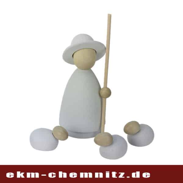 Für Ihr Krippenspiel, passend der Schäfer groß natur/weiß, mit 3 Schafen im modernen Stil.