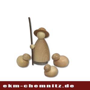 Der Schäfer, Drechselfigur der Firma Hennig, mit 3 Schafen. Klein lasiert, moderne Handwerkskunst zum Dekorieren.