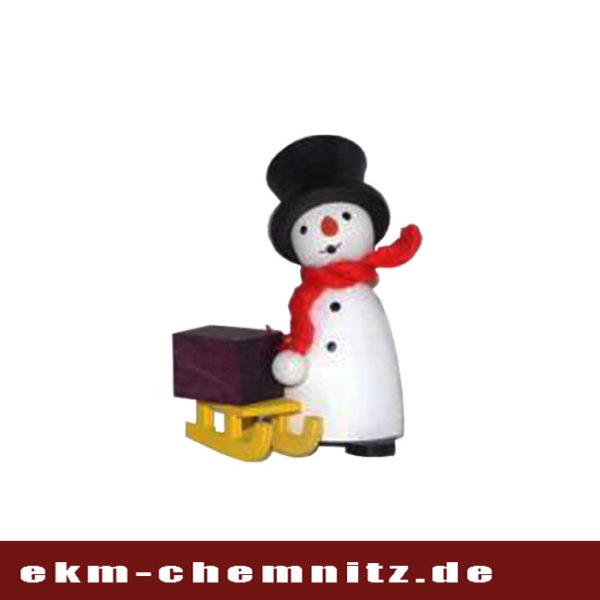 Freude beim sammeln und dekorieren bringt auch der Schneemannmit Schlitten als Drechselfigur zu Ihnen nach hause.