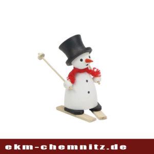 Auch der Schneemann ist ein Fan vom Wintersport, wie die Drechselfigur Schneemann auf Ski zeigt. Eine tolle Sammelfigur für groß und klein.