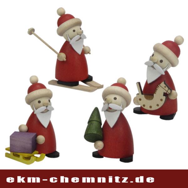 Gedrechselte Weihnachtsmänner als Sammlerfiguren.