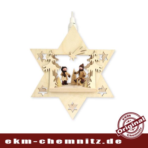 Das Fensterbild Stern Winterkinder ist aus dem Erzgebirge mit Sammlerfiguren von Romy Thiel bestückt. Eine schöne weihnachtliche Dekoration.