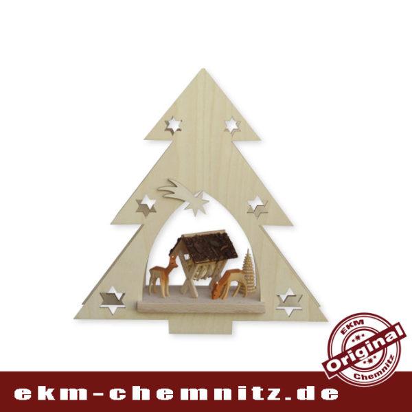 Das Fensterbild als ganzjahres Motiv, geschnitzte Rehe im Wald zwischen gedrechselten Ringelbäumchen. Die Tanne ist beleuchtet, traditionell hängen die Fensterbilder zu Weihnachten in den Fenstern im Erzgebirge.