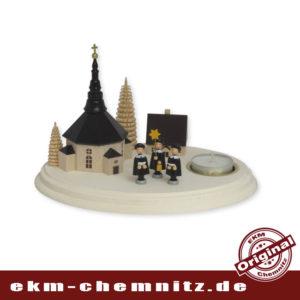 Schöner Tischleuchter für Weihnachten, bestückt mit der Seiffener Kirche und Kurrendefiguren, der Firma Spielwarenmacher Günther.