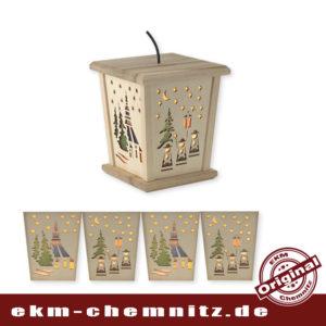 Wunderschöne LED Weihnachtslaterne mit der traditionellen Seiffener Kirche. Das moderne Design trifft Klassiker. Zum Hängen oder Stellen, inkl. Verteilerkabel für weitere Laternen.