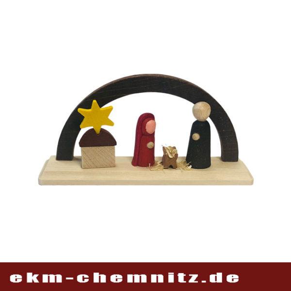 Die Figuren Christi Geburt finden sich auf diesem Miniatur Schwibbogen