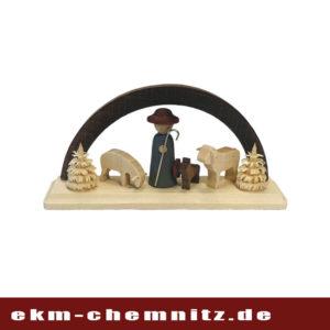 Ein Miniatur-Schwibbogen bestückt mit einem Schäfer, Hund und Schafen.