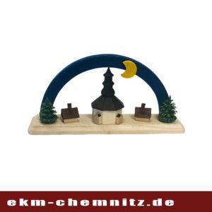 Aus der Rubrik Miniaturen ist die Seiffener Kirche mit einem blauen Bogen.