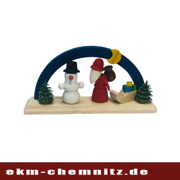 Der Weihnachtsmann unter blauen Bogen gehört zu den Miniaturen.