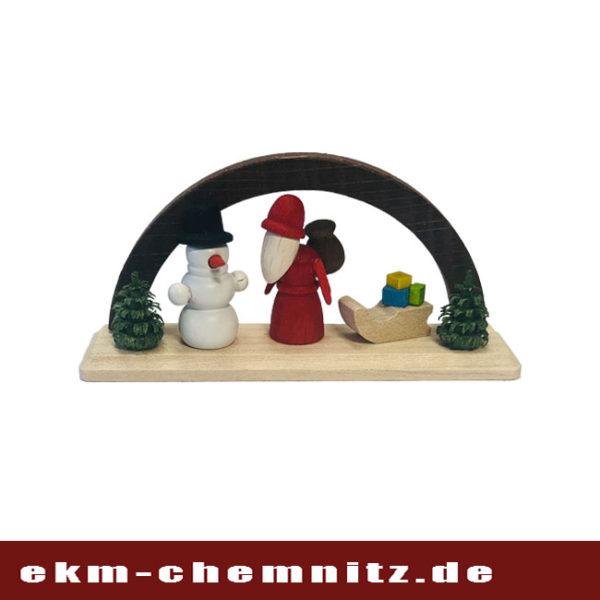Der braune Bogen mit Weihnachtsmann ist eine erzgebirgische Miniatur.
