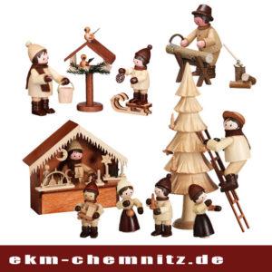 Sammlerfiguren Winterkinder / Marktbuden