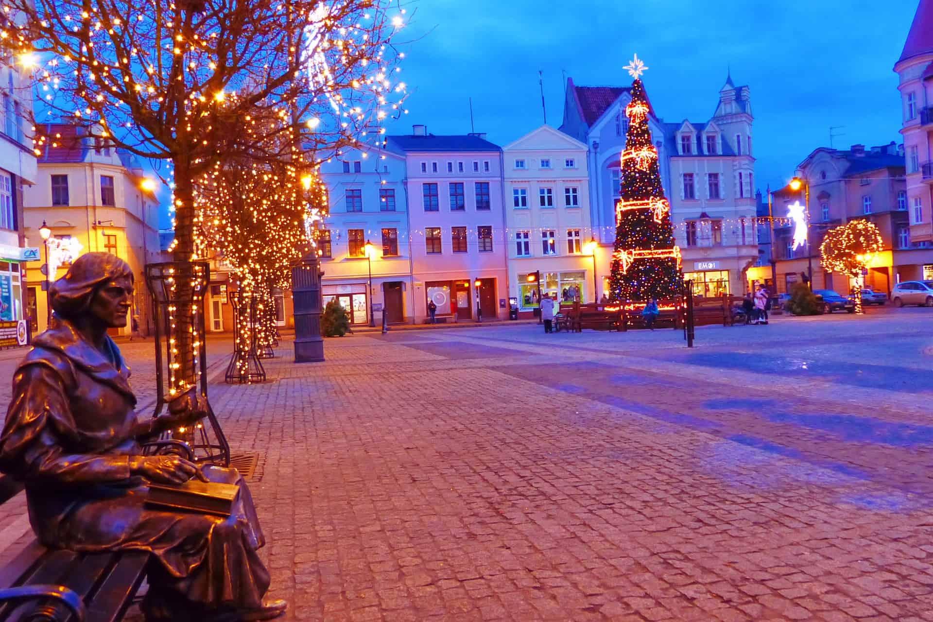 Weihnachten in Polen - Stadt Grudziądz im schönen Licht