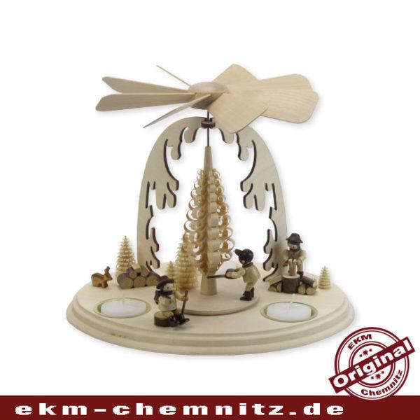 Diese Weihnachtspyramide mit Baumfäller auf dem Teller zählt zu den Klassischen Pyramiden in unsere Kollektion.