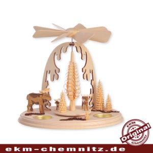 Auch wenn es im Erzgebirge keine Elche in natur gibt, kann man diese auf dieser klassischen Weihnachtspyramide bestaunen.